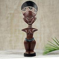 Wood sculpture, 'Ashanti Muse II' - Collectible Sculpture Ashanti Fertility Doll Carved by Hand