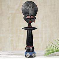 Wood sculpture, 'Ashanti Muse III' - Ashanti Fertility Doll Collectible Sculpture Carved by Hand