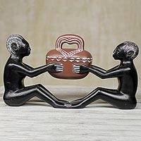 Sese wood sculpture, 'Lover's Pot' - Ghanaian Sculpture of Two Figures with Bowl Carved Sese Wood