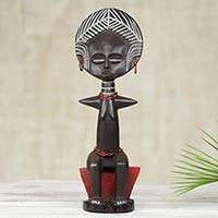 Wood sculpture, 'Obaa Panyin I' - Akan Queen Mother on Red Throne Hand Carved Wood Sculpture