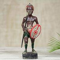 Wood sculpture, 'Zulu Warrior' - Hand Carved Wood Sculpture of Zulu Warrior in Full Regalia