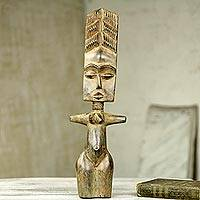 Wood sculpture, 'Embrace the Past' - Original African Wood Woman Sculpture Artisan Crafted