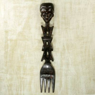 Wood wall sculpture, 'Afia's Fork' - Fork-shaped Wall Sculpture with Female Face Carved in Wood
