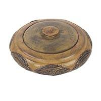 Wood decorative lidded bowl, 'Araba' - Rustic African Decorative Bowl Hand Carved in Wood