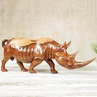 Wood sculpture, 'African Rhino' - Artisan Crafted Wood Sculpture of African Rhinoceros