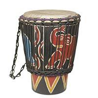 Wood mini djembe drum, 'Elephant' - Hand Carved Decorative Djembe Drum with Elephant Theme