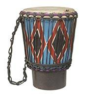 Wood mini djembe drum, 'Happy Times' - Handmade Wood and Goatskin Mini Djembe Drum