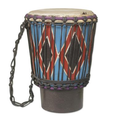 Handmade Wood and Goatskin Mini Djembe Drum