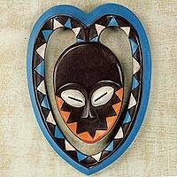 African wood mask, 'Kwele Mask I' - African Art Heart Shaped Kwele Protective Handmade Wood Mask