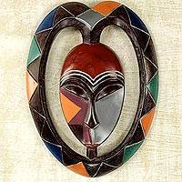 African wood mask, 'Kwele Mask III' - Heart Shaped Kwele Protective Wood Mask Handmade African Art