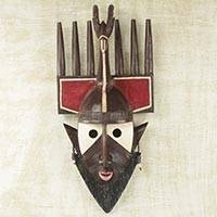 African wood mask, 'Bamana Ntomo Antelope' - African Hand Carved Malian Initiation Wood Antelope Mask