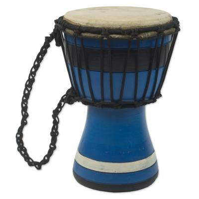Wood mini-djembe drum, 'Blue Invitation to Peace' - Blue Decorative Djembe Drum Artisan Crafted in West Africa