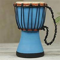 Wood mini-djembe drum, 'Turquoise Invitation to Peace' - Artisan Crafted West African Decorative Djembe Drum