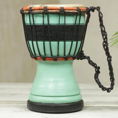 Wood mini-djembe drum, 'Green Invitation to Peace' - Green Decorative Djembe Drum Artisan Crafted in West Africa