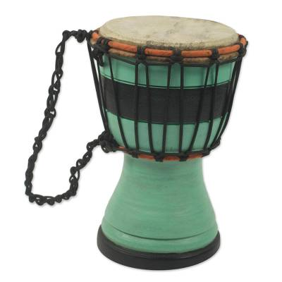 Green Decorative Djembe Drum Artisan Crafted in West Africa