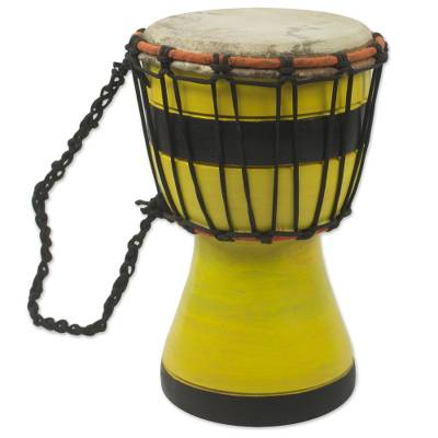 Artisan Crafted West African Decorative Djembe Yellow Drum