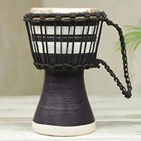 Wood mini-djembe drum, 'Black Invitation to Peace' - Artisan Crafted West African Decorative Djembe Black Drum