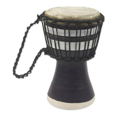 Artisan Crafted West African Decorative Djembe Black Drum