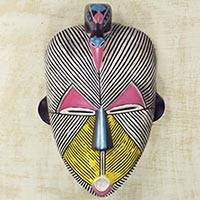 African wood mask, 'Songye Kwifibe I' - African Protection Spirit Wall Mask Artisan Crafted Wood Art