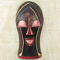 African wood mask, 'Songye Kwifibe II' - Protection Spirit African Wall Mask Artisan Crafted Wood Art