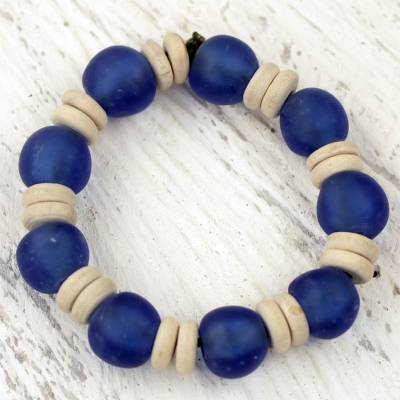Recycled glass and wood stretch bracelet, Accra Blue
