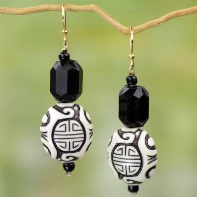 Upcycled dangle earrings, 'Gift from Asia' - Chinese Theme Recycled Plastic Earrings from Ghana