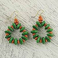 Wood beaded earrings, 'Summer Fun' - Dangle Earrings with Green and Orange Wood Beads