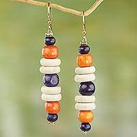Wood dangle earrings, 'Summer Rain' - Purple and Orange Sese Wood Dangle Earrings