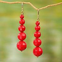 Upcycled dangle earrings, 'Eco Red - Eco Friendly Handcrafted West African Dangle Earrings