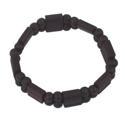 Artisan Crafted Sese Wood Stretch Bracelet in Black
