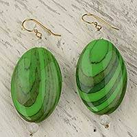 Upcycled dangle earrings, 'Rustic Love in Green' - Hand Crafted Upcycled Plastic Dangle Earrings in Green