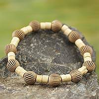 Wood stretch bracelet, 'Beige Fantasy' - Artisan Crafted Sese Wood and Recycled Plastic Bracelet