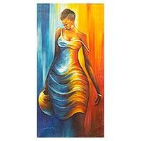 'Ama Beauty' - Blue and Gold Portrait Painting of Akan Woman from Ghana