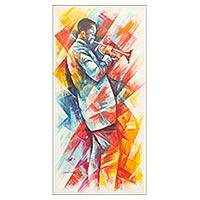 'Divine Message' - Signed African Trumpet Player Painting Music Themed