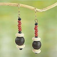 Agate and wood beaded earrings, 'Stay with Me' - Red Agate and Wood Beaded Earrings Artisan Crafted Jewelry
