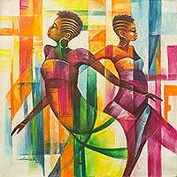 'Time to Dance' - Multi Color Painting of Women Dancing Signed African Artwork