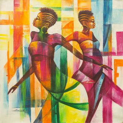 Multi Color Painting of Women Dancing Signed African Artwork