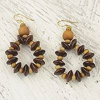 Wood dangle earrings, Bloom in Chocolate
