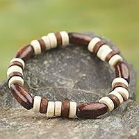 Wood stretch bracelet, 'Chocolate' - Artisan Crafted Wood Beaded Stretch Bracelet from Ghana