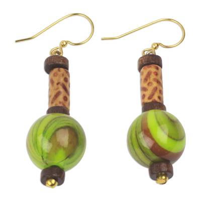 Upcycled dangle earrings, 'Simplicity Globes' - Hand Crafted Sese Wood and Upcycled Plastic Dangle Earrings