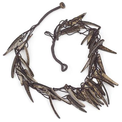 Handmade Coconut Shell Necklace on Double Strand Nylon Cords