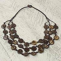 Coconut shell strand necklace, 'Coconut Wave' - Coconut Shell Strand Necklace Handmade in Ghana