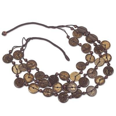 Coconut Shell Strand Necklace Handmade in Ghana