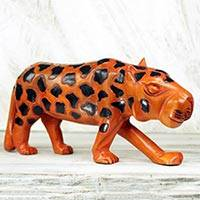 Wood sculpture, 'African Leopard' - Hand Carved and Painted Wood Sculpture of an African Leopard