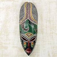 African wood mask, 'Beaded Warrior' - Colorful Beaded Wood Mask from Ghanaian Artisan