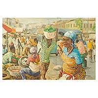 'Virtuous Women' - Original Acrylic Painting on Canvas of Market Scene
