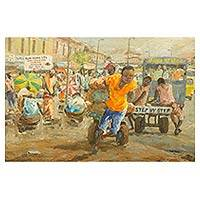 'Step by Step' - Original Acrylic Painting of Market Scene on Canvas