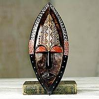 African wood mask, 'Peace Be Unto You' - Ornate Hand Carved African Mask with Embossed Brass