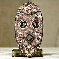 African wood mask, 'Pretty Obenewa' - Bold Geometric African Mask in Textured Brown Wood