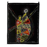 Cotton batik wall hanging, 'Homecoming' - Hand Crafted 100% Cotton Multi-Colored Batik Wall Hanging